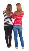 pic of side view people  - Back view of two young girl  - JPG
