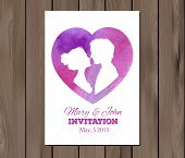 pic of ombre  - Wedding invitation with watercolor elements and profile silhouettes of man and woman - JPG