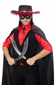pic of zorro  - Young man in carnival coat with sword isolated on white - JPG