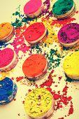 pic of holi  - Closeup shot of Indian Holi festival colours - JPG