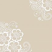 picture of lace  - White flower corner - JPG