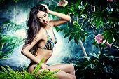 stock photo of tropical plants  - Beautiful sexy woman in bikini among tropical plants - JPG