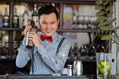 image of bartender  - Portrait of cheerful young bartender shaking a cocktail - JPG