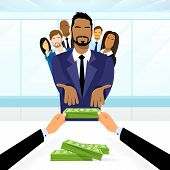 image of leader  - Business People Group Leader Get Salary Dollar Stack Money Boss Businessmen Diverse Team Vector Illustration - JPG