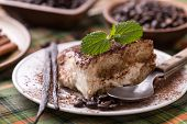 stock photo of dessert plate  - Tiramisu dessert served on white plate - JPG