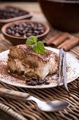 picture of dessert plate  - Slice of homemade italian tiramisu dessert served on a plate - JPG
