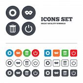 stock photo of anonymous  - Anonymous mask and cogwheel gear icons - JPG