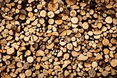 stock photo of firewood  - Stacked dry brown firewood nature abstract background - JPG