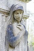 picture of condolence  - femal statue as a grave stone on an old cemetery - JPG