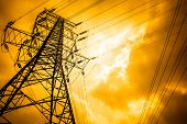 stock photo of voltage  - High voltage towers with sky background - JPG