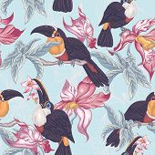 foto of toucan  - Beautiful Vintage Tropical Seamless Background with Exotic Flowers and Toucan - JPG