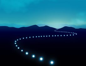 image of senses  - Hope Journey to Success On Winding Road Concept with row of light on road which give sense of direction  across mountain landscape amid darkness. Negative space on top and on left can be use for  wording or text - JPG