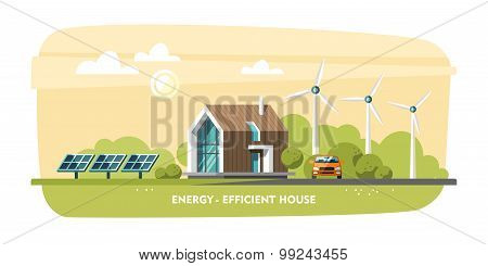 Green Energy, Energy Efficient House, Passive House, Eco House, Ecology.  Flat Design Vector Concept Illustration. Poster. ID: 99243455