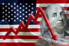 pic of nyse  - Flag of the United States of America with the face of Benjamin Franklin on US dollar 100 bill and a red arrow indicates the stock market enter recession period - JPG