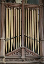 stock photo of organ  - The Metal Pipes of a Church Music Organ - JPG