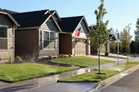 foto of suburban city  - Standard family homes in a suburban neighborhood - JPG