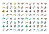 Flat line colorful icons collection of human brain process poster