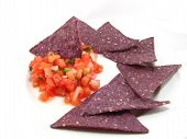 Salsa and Blue Tortilla Chips