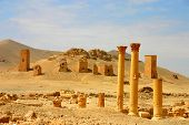 image of euphrat  - columns and tombs at ancient palmyra in syria - JPG