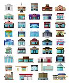 Постер, плакат: Set of the flat city buildingss and shops