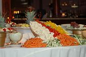 stock photo of crudites  - beautifully arranged vegetable platter on banquet table - JPG