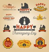Set Of Thanksgiving Day Labels. poster
