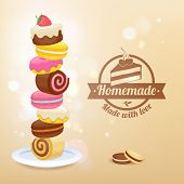 Постер, плакат: Stack of sweets on plate vector illustration