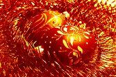foto of tawdry  - red christmas balls and shiny spangle soft - JPG