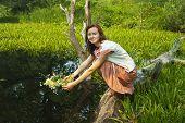 image of undine  - Pretty girl in flower chaplet at river - JPG