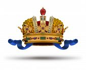 pic of crown jewels  - Crown with blue ribbon and a ruby - JPG