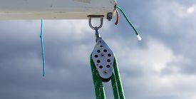 foto of sloop  - Close up of yacht equipment - JPG