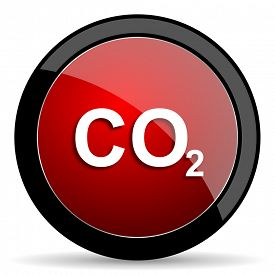 pic of carbon-dioxide  - carbon dioxide red circle glossy web icon on white background - JPG