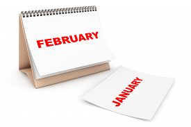 picture of february  - Folding Calendar with February month page on a white background - JPG
