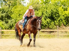 stock photo of cowgirl  - Active western cowgirl woman in hat training riding horse - JPG