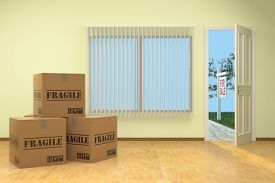 stock photo of fragile sign  - Moving House with For Sale sign - JPG