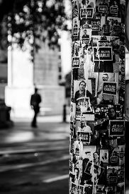 picture of light-pole  - Je suis Charlie poster on a light pole in Paris France - JPG