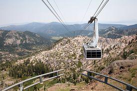 foto of tram  - Dramatic view of a hanging gondola - JPG