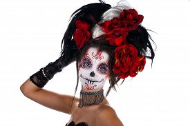 picture of sugar skulls  - Girl with make - JPG