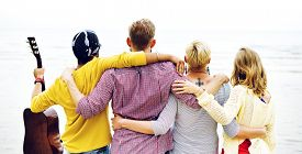 picture of huddle  - Friends Friendship Huddle Vacations Happiness COncept - JPG