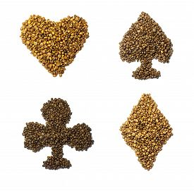 picture of spade  - The suits of playing cards hearts clubs spades diamonds made from coffee beans - JPG