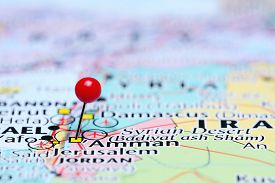 picture of amman  - Photo of pinned Amman on a map of Asia - JPG