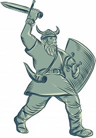 picture of raider  - Etching engraving handmade style illustration of a viking warrior raider barbarian with shield and sword striking set on isolated white background - JPG