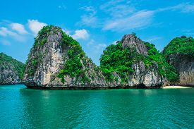 image of southeast  - Mountain island and lonely beach in Halong Bay Vietnam Southeast Asia - JPG