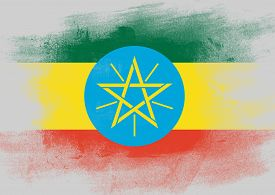 picture of ethiopia  - Flag of Ethiopia painted with brush on solid background - JPG