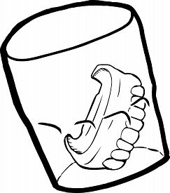 stock photo of prosthetics  - Outine cartoon of prosthetic teeth inside drinking glass - JPG