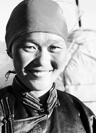 image of mongolian  - Mongolian Woman Traditional Dress Tranquil Solitude Concept - JPG