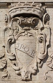 picture of spqr  - The symbol of ancient Roman Republic on the capitole hill - JPG