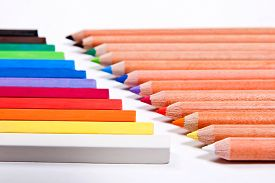 picture of pastel  - View of different color pencils and chalk pastels isolated on the white background - JPG