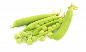 stock photo of pea  - Pea pods and some peas isolated on white - JPG
