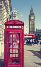 stock photo of phone-booth  - Traditional red telephone box in London public phone  - JPG